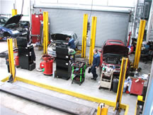 Cars being serviced at Leatherhead Motor Company