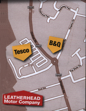 CLICK HERE for Large Map of Leatherhead Motor Company, the MOT testing station in Leatherhead Surrey